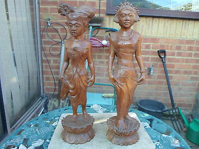 Attractive Pair of Large Wood Carved Lady Figurines Asian / Indian