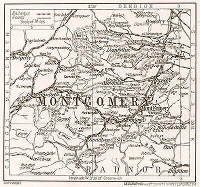 1923 map of Wales: Montgomery ready-mounted antique print SUPERB