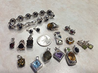 Sterling Silver 925 LOT Lady Bug Pin Pendants Bracelet Earrings 75 gm  Gemstones