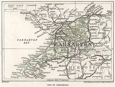 1923 map of Wales: old county of Carnarvon, ready-mounted antique print SUPERB