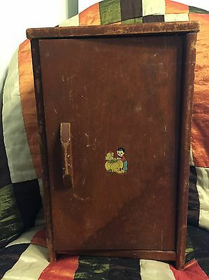 """1940s 1950s Vintage Wooden Doll Wardrobe 17.5"""" tall w/ decal on the door"""