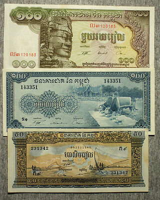 Set of 3 diff. large 1970's Cambodia currency vf to xf-Au light staining