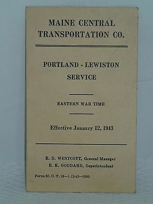 1943 Maine Central Railroad Schedules Timetable Card Portland Lewiston Wwii