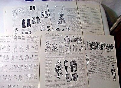 Of Interest to Victorian Antique Doll Enthuiasts and Collectors - Patterns Lot