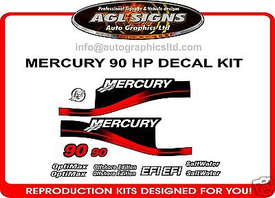 90 HP MERCURY MARINE DECALS, MERC OUTBOARD reproduction