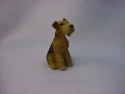 AIREDALE dog TiNY FIGURINE puppy HAND PAINTED MINIATURE COLLECTIBLE Resin Mini