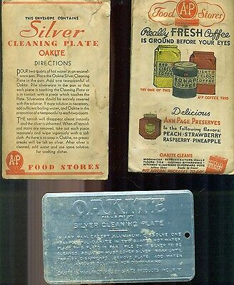 OAKITE Silver Cleaning Plate (circa 1930s) A&P Grocery Stores with Coffee ad