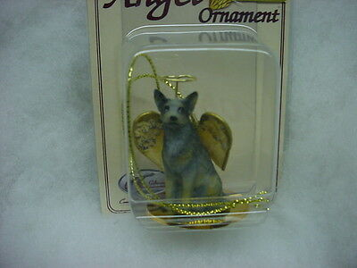 AUSTRALIAN CATTLE DOG ANGEL Ornament Figurine NEW Christmas blue heeler puppy