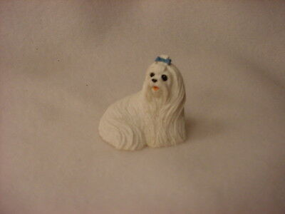 MALTESE puppy TiNY Dog FIGURINE Resin HAND PAINTED MINIATURE Mini Pet Statue NEW