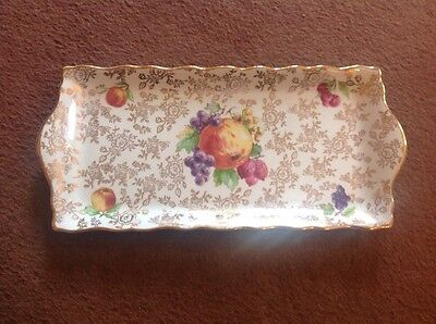 Old Foley James Kent Ceramic Serving Tray/Sandwich Plate, Gold Gilt Pattern.