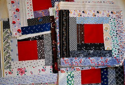 Victorian & 1930 Log Cabin Quilt Blocks Cotton Calicos & Floral Prints 30 Pcs.