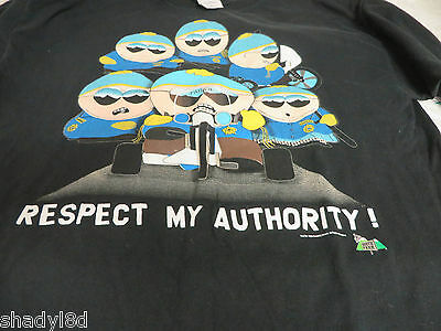 SOUTH PARK TEE Patrol Respect My Authority Motorcycle Police VGC XL Black