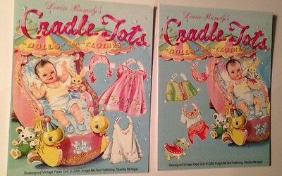 TWO PAPER DOLL POST CARDS  - CRADLE TOTS  - Louise Rumleyv