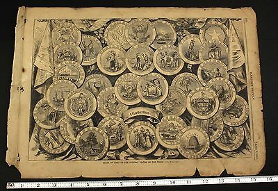 1861 US Civil War Harper's Weekly Coats of Arms States of Union