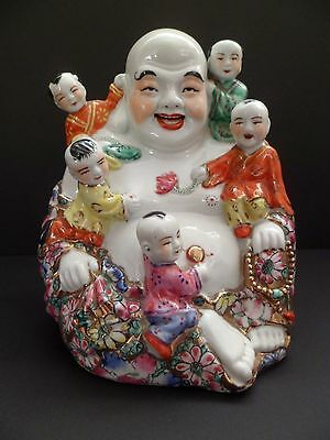 Fine Antique Large Porcelain Happy Laughing Buddha Famille Rose Mille Fleur Gilt