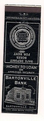 Bartonville Bank Bartonville IL Peoria County Matchcover 011017