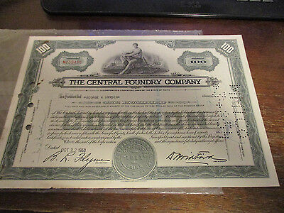 Central Foundry Company Stock Certificate Maine  100 Shares