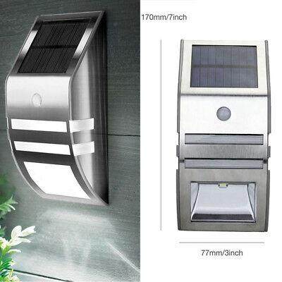 Solar Powered Motion Sensor 2 LED Path Wall Light Garden Outdoor Security Lamps