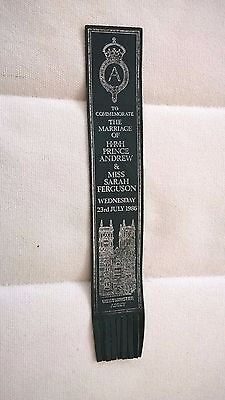 Leather Bookmark For Wedding Of Prince Andrew And Sarah Used