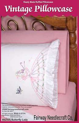 Stamped Lace Edge Pillowcase 30 Inch X 20 Inch 2/Pkg-Butterfly Lad 725162825253