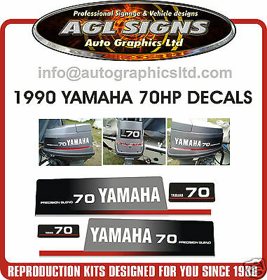 YAMAHA 70 HP  Precision Blend Outboard Decal set, reproductions