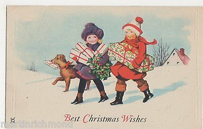 Best Christmas Wishes, Children with Presents Postcard, B520