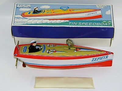 """Schylling Tin Wind-up Speedboat """"Zephyr"""" Reproduction Toy w/Box Vintage 1996"""