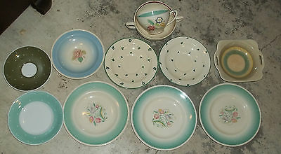 Mixed Lot of 10 Susie Cooper Bone China saucers plates cup bowls selling as is