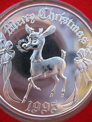 1-Oz.999 Silver 1995 Rudolph The Red Nose Reindeer Christmas Box Coin + Gold