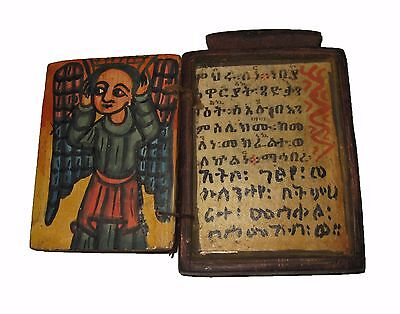 Handpainted Ethiopian Wood ICON : Ethiopia Orthodox Magic Scroll Church Art