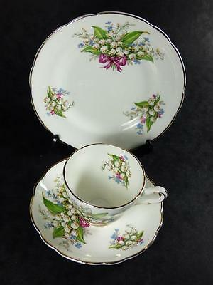 REGENCY China  LILY OF THE VALLEY Bone China TEA TRIO, Gilded, vgc