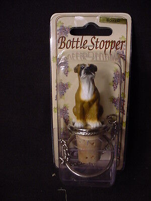 BOXER Brown Uncropped Dog CORK WINE BOTTLE STOPPER Resin HAND PAINTED FIGURINE