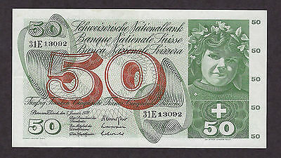 Switzerland 1970 50 Francs Prefix 31E - 3092