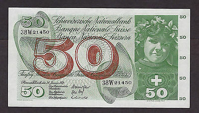Switzerland 1972 50 Francs Prefix 38W - 1450
