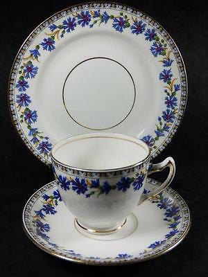 Lovely BLUE CORNFLOWERS TEA TRIO, Balmoral China, Gilded