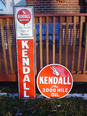 "LOT OF 3 XL KENDALL motor oil 60"" dealer embossed ADVERTISING SIGNS metal / tin"