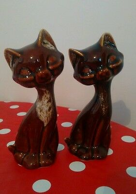 Vintage Fosters Pottery Small Brown Sitting Cat Ornament x2