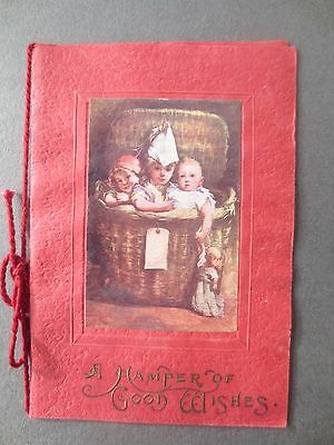 Antique Christmas Card Children Baby with Doll in Hamper 1911 Agerskow HULL