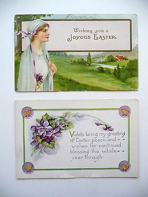 2 - Vintage Antique old Easter Postcards, 1914, Whitney Made, Flowers