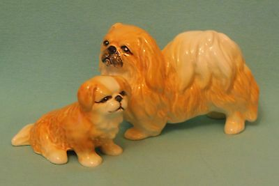 Vintage PEKINGESE BITCH & PUPPY (2) figurines pair ornament model dog peke