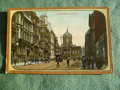 Castle Street Liverpool RP and painted vintage postcard - posted 1916