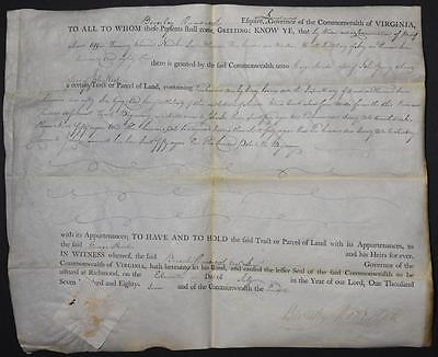 1787 Virginia Land Grant Document Signed by Governor Beverley Randolph