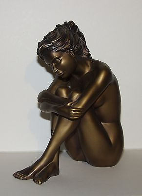 small seated plaster nude figure woman painted bronze art deco - 1950's ?