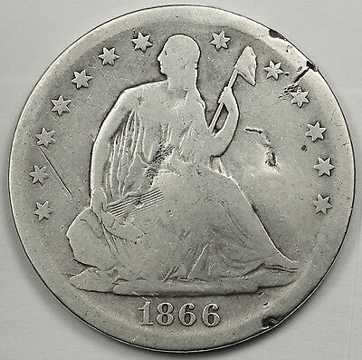 1866-s Seated Liberty Half.  V.G. Detail.  83509