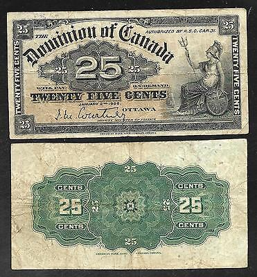 Dominion of CANADA - Scarce Old 25 Cents Note - 1900 - P9a - Courtney - FINE