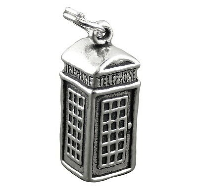 British Telephone Booth Charm Sterling Silver Pendant Phone on Split Ring