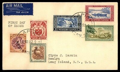 Western Samoa Pictorials on 1952 First Day Cover FDC to 6 Pence