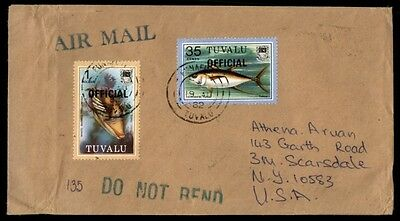 1962 Tuvalu official mail airmail covered to Scarsdale New York