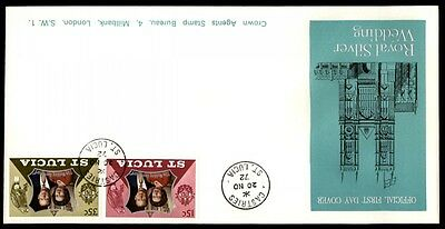 1972 St. Lucia Royal silver wedding cachet first day cover