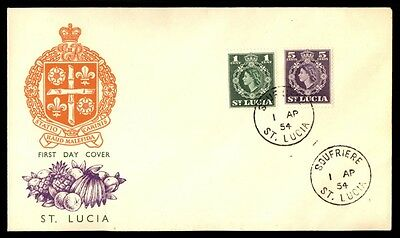 St Lucia QEII 1954 Cacheted First Day Cover Scott 183 & 184
